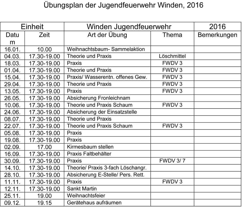 Übungsplan 2016 JFW Winden