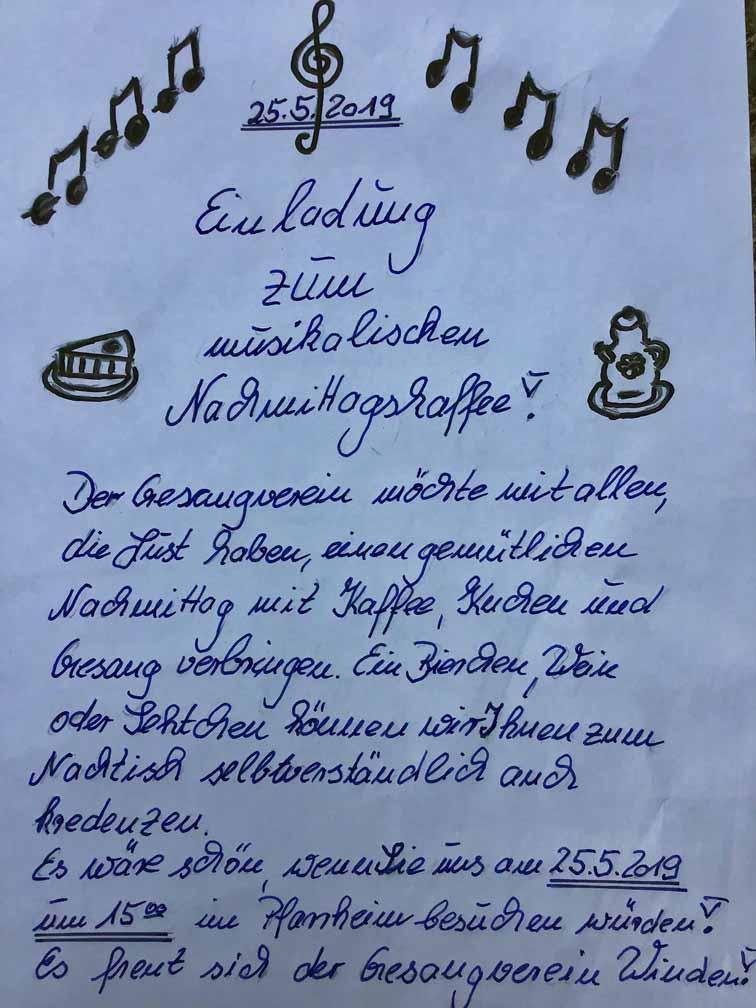 Einladung zum musikalischen Kaffe am 25.5.2019